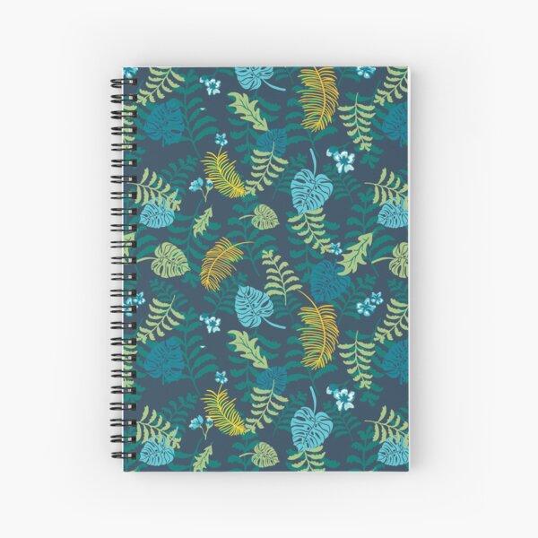 Moody jungle plants on dark background pattern.  Palm leaves, ferns, monstera. Spiral Notebook