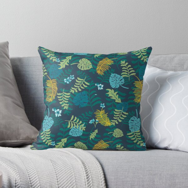 Moody jungle plants on dark background pattern.  Palm leaves, ferns, monstera. Throw Pillow