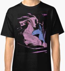 Blue Shark, at pink sea, abstract, cartoon artwork Classic T-Shirt