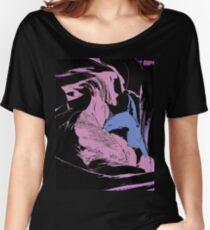 Blue Shark, at pink sea, abstract, cartoon artwork Women's Relaxed Fit T-Shirt