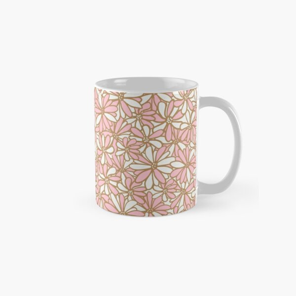 Daisy flowers, pink and gold, pretty, feminine and whimsical pattern Classic Mug