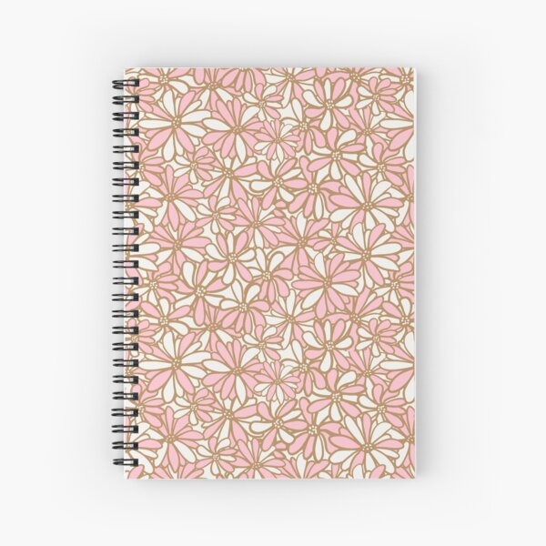 Daisy flowers, pink and gold, pretty, feminine and whimsical pattern Spiral Notebook