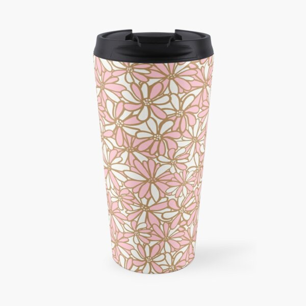 Daisy flowers, pink and gold, pretty, feminine and whimsical pattern Travel Mug