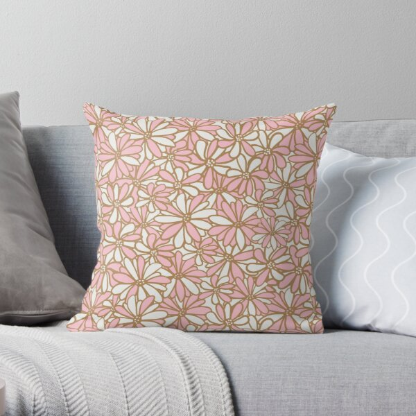 Daisy flowers, pink and gold, pretty, feminine and whimsical pattern Throw Pillow