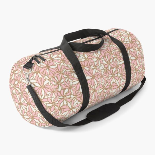 Daisy flowers, pink and gold, pretty, feminine and whimsical pattern Duffle Bag