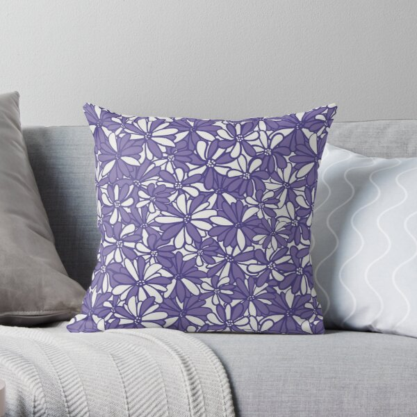 Pruple daisy flowers, pretty, feminine and whimsical pattern Throw Pillow