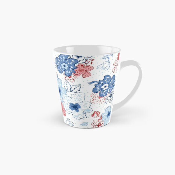 Organic blooms, whimsical flowers, blue and red floral pattern Tall Mug