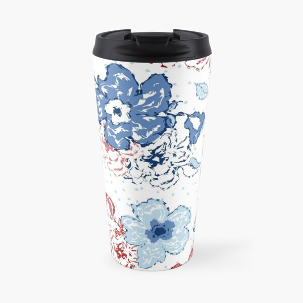 Organic blooms, whimsical flowers, blue and red floral pattern Travel Mug