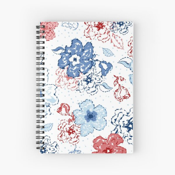 Organic blooms, whimsical flowers, blue and red floral pattern Spiral Notebook