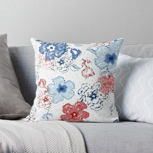 Organic blooms, whimsical flowers, blue and red floral pattern Throw Pillow