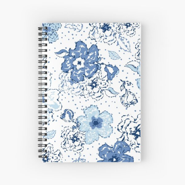 Blue chintz, organic blooms, whimsical flowers pattern, blue tones Spiral Notebook