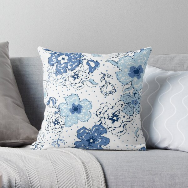 Blue chintz, organic blooms, whimsical flowers pattern, blue tones Throw Pillow