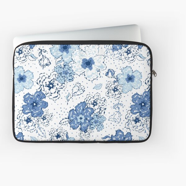 Blue chintz, organic blooms, whimsical flowers pattern, blue tones Laptop Sleeve