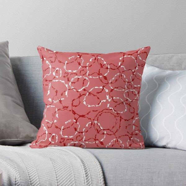 Red organic wonky circles, whimsical geo pattern Throw Pillow