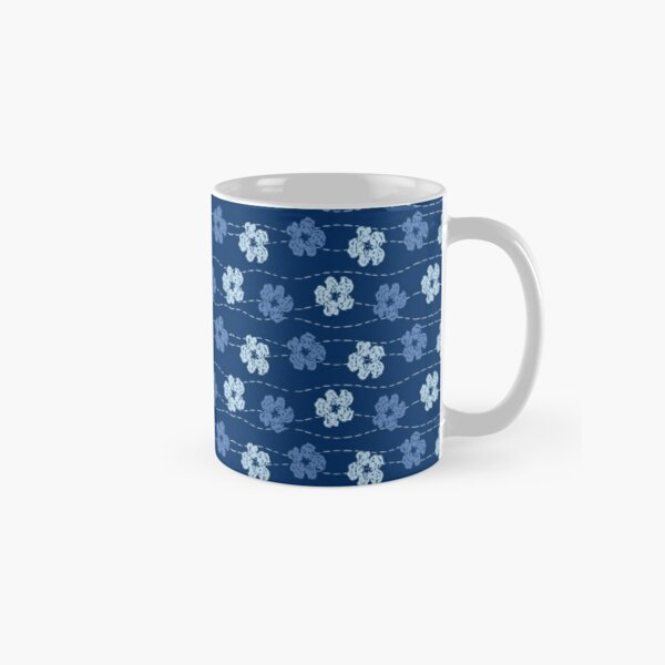 Embroidered look flowers pattern - stitched effect flowers Classic Mug