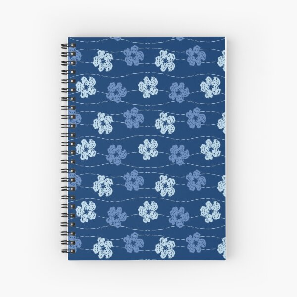 Embroidered look flowers pattern - stitched effect flowers Spiral Notebook