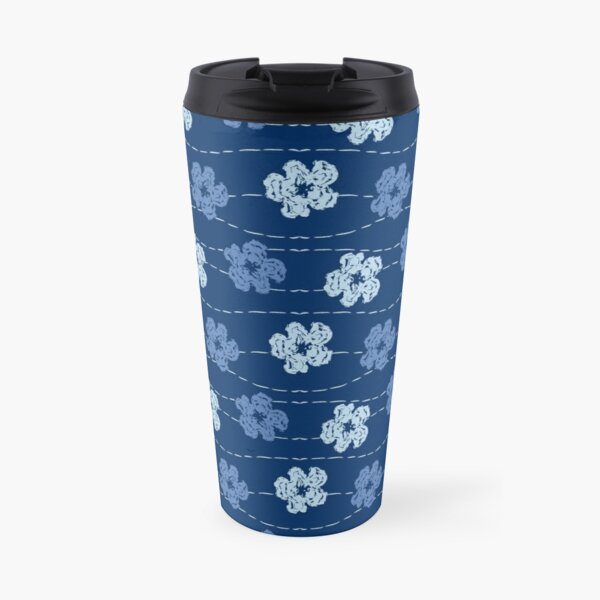 Embroidered look flowers pattern - stitched effect flowers Travel Mug