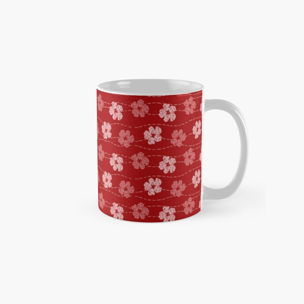 Red embroidered look flowers pattern - stitched effect flowers Classic Mug