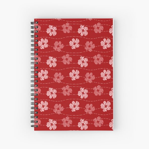 Red embroidered look flowers pattern - stitched effect flowers Spiral Notebook