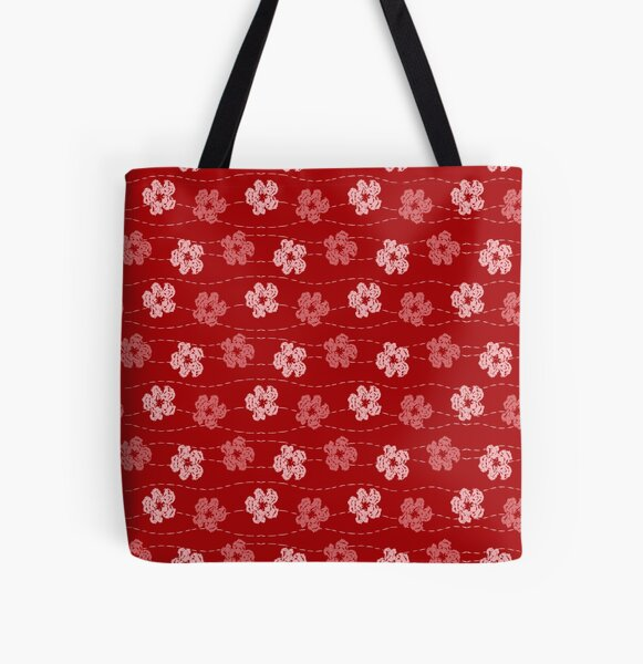 Red embroidered look flowers pattern - stitched effect flowers All Over Print Tote Bag