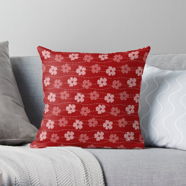 Red embroidered look flowers pattern - stitched effect flowers Throw Pillow