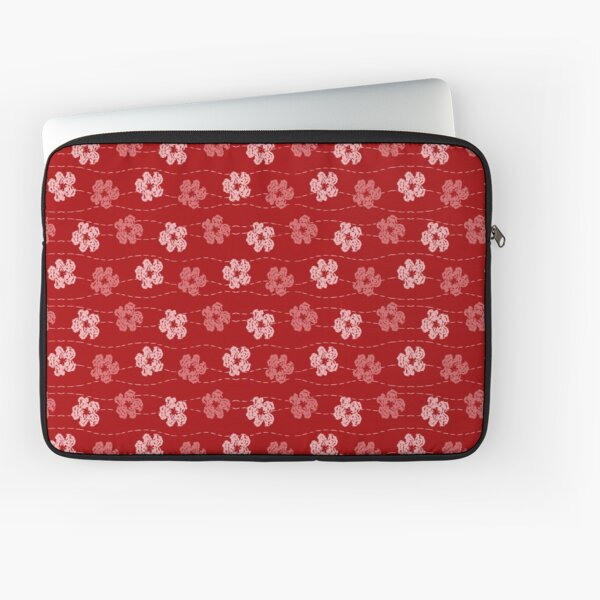 Red embroidered look flowers pattern - stitched effect flowers Laptop Sleeve