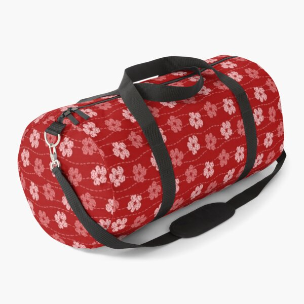 Red embroidered look flowers pattern - stitched effect flowers Duffle Bag