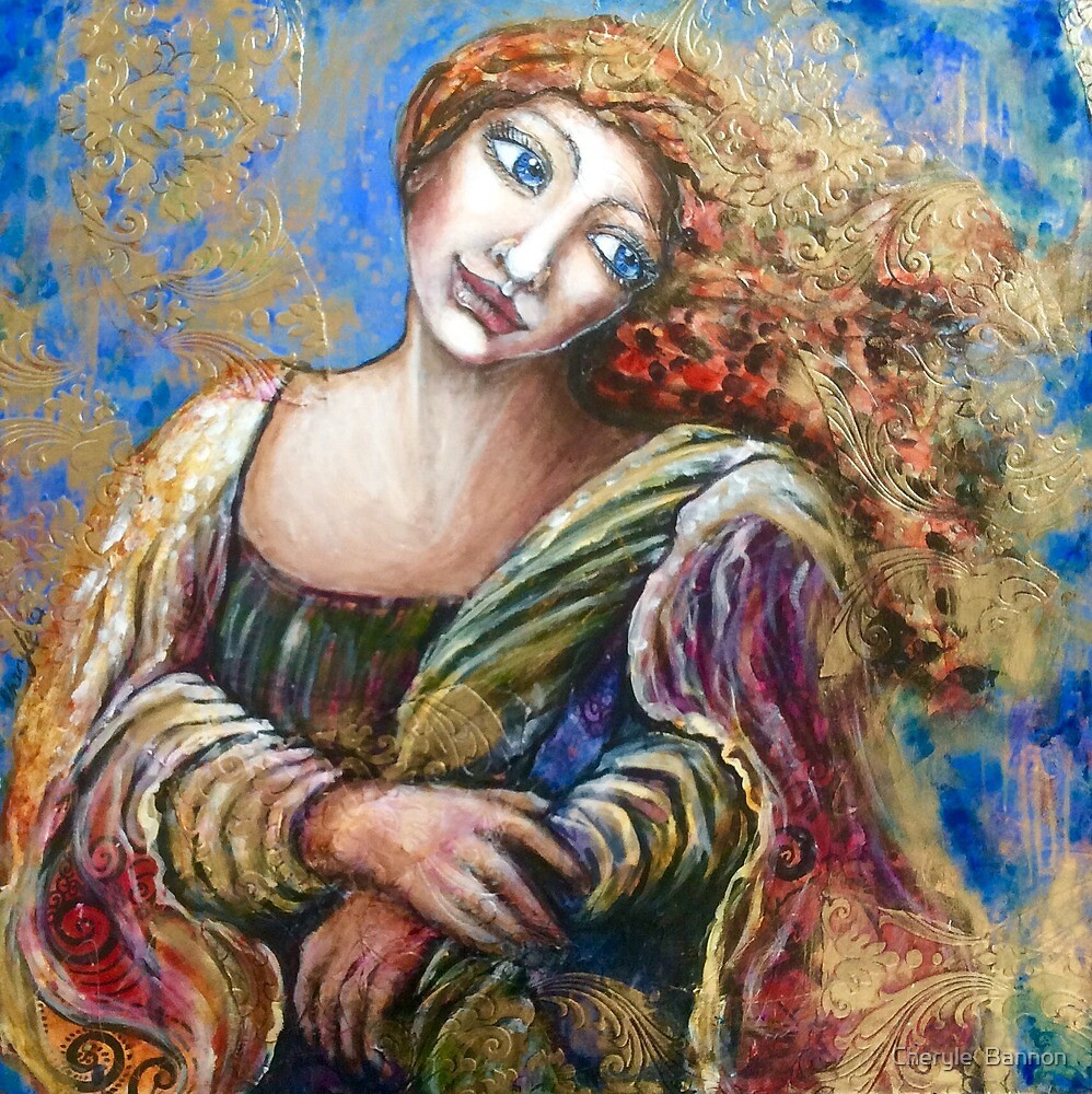Woman in blue and gold by Cheryle  Bannon