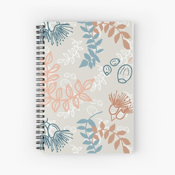 Simple nature, leaves, flowering gum and gum nuts pattern - eco friendly, nature based Spiral Notebook