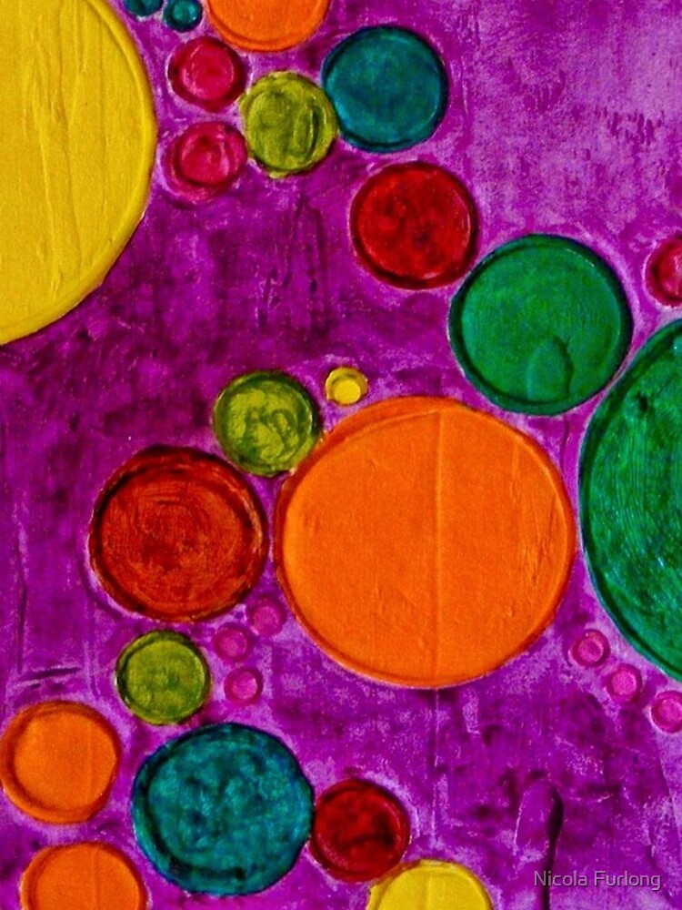 COLORFUL CHILDREN ART CIRCLES AND BUBBLES by nicolafurlong