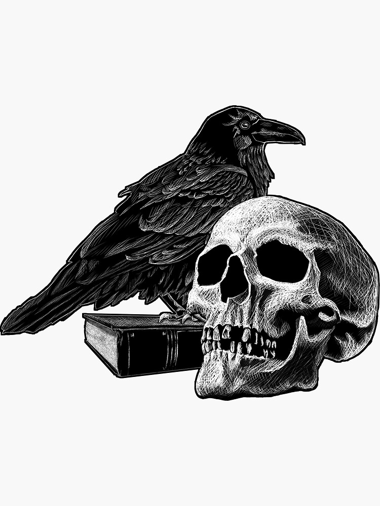 Quoth the Raven with Skull by SuspendedDreams