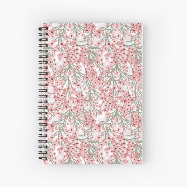 Geraldton Wax Flowers Pattern - pretty pink australian flora Spiral Notebook