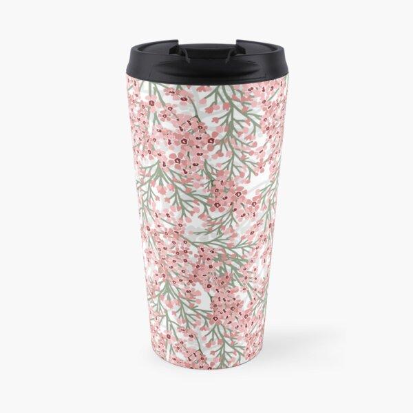 Geraldton Wax Flowers Pattern - pretty pink australian flora Travel Mug