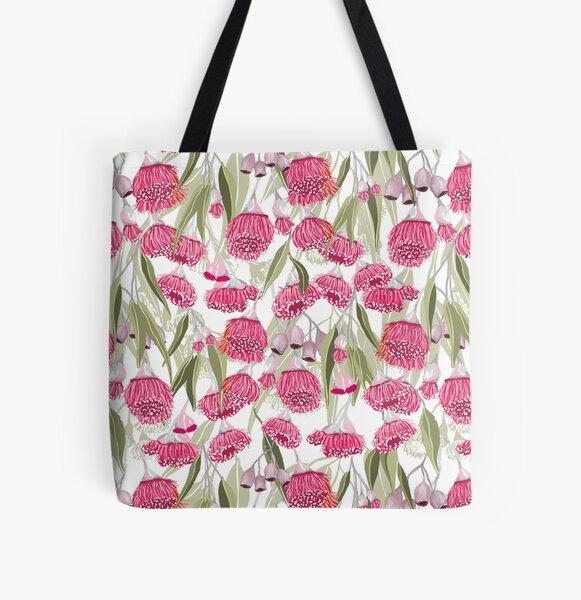 Eucalyptus Pink Gum Blossom Pattern - Australian Flowering Gum All Over Print Tote Bag