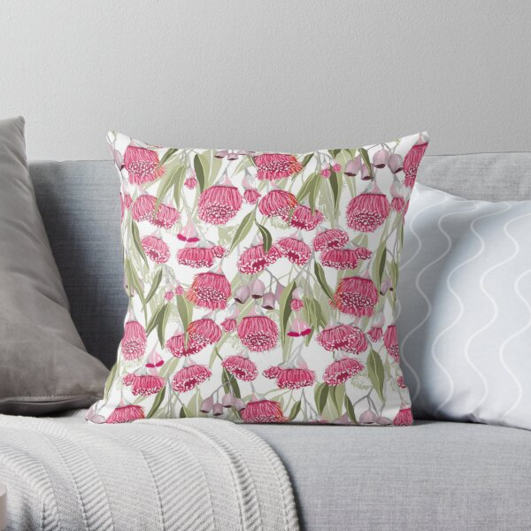 Eucalyptus Pink Gum Blossom Pattern - Australian Flowering Gum Throw Pillow