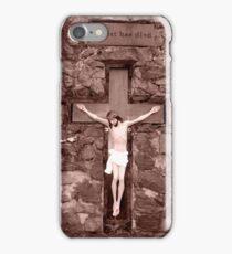 crusifix of jesus on wood cross iPhone Case/Skin