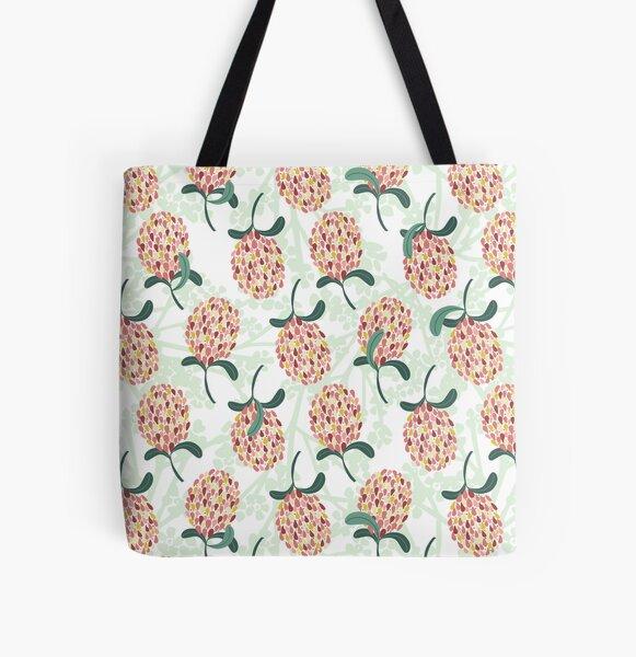 Modern Banksia Pattern- Bright colorful digital illustration All Over Print Tote Bag