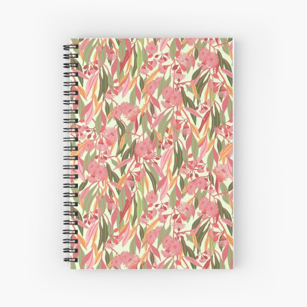 Flowering Eucalyptus Gum Blossoms pattern with colourful gum leaves - Natures Hues Spiral Notebook