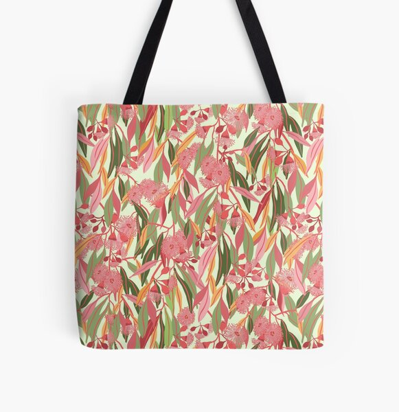 Flowering Eucalyptus Gum Blossoms pattern with colourful gum leaves - Natures Hues All Over Print Tote Bag