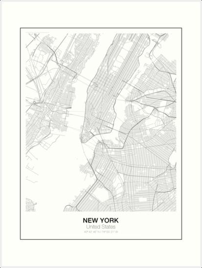 New York Minimalist Karte von resfeber