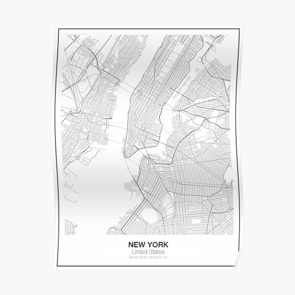 New York Minimalist Map Poster