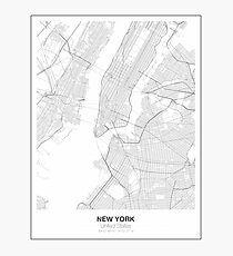 New York Minimalist Map Photographic Print