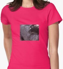 Black Cat Looking Back Womens Fitted T-Shirt