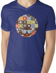 Robots on buttons Mens V-Neck T-Shirt