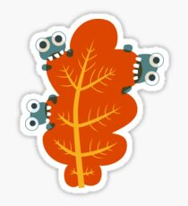 Cute Bugs Eating Autumn Leaves Sticker