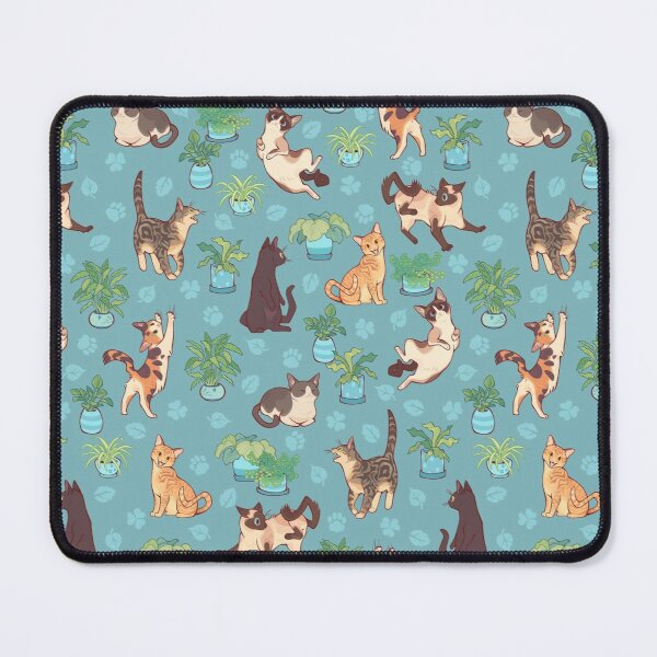 Cozy michis in blue Mouse Pad