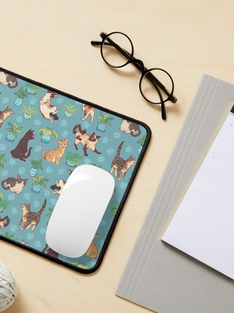 Alternate view of Cozy michis in blue Mouse Pad