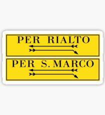 Pegatina Por Rialto, por San Marco, cartel de la calle de Venecia, Italia