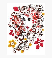 Autumn Girl with Floral 8 Photographic Print