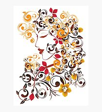 Autumn Girl with Floral 9 Photographic Print